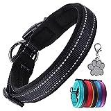 Collar de Perro Suave Acolchado Neopreno Ajustable Collares Reflectantes para Mascotas para Perros PequeñOs Medianos Grandes - Negro -L