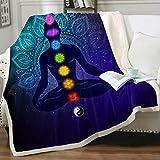 Chakra Meditation Soft Blanket Chakra Color Flowers Zen Spiritual Sherpa Plush Fleece Throw Blanket Spiritual Mandala Ultra Luxurious Plush Blanket Purple Blue and Teal Twin(60'x80')