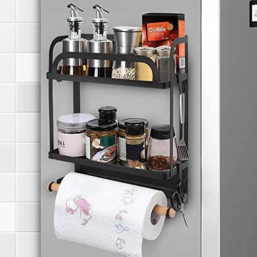 Lemecima Magnetic Fridge Spice Rack Organizer, Fridge Side Rack with Paper Towel Holder, 4 Removable Mobile Hooks, Used in Refrigerators Washing Machines Iron Doors Bathrooms (Black)