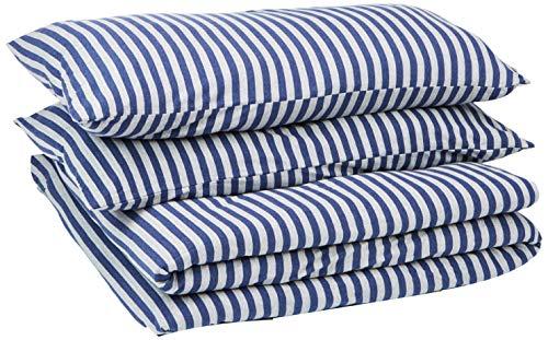 AmazonBasics - Juego de funda nórdica para edredón, diseño de rayas, 230 x 220 cm / 50 x 80 cm, Azul Marino