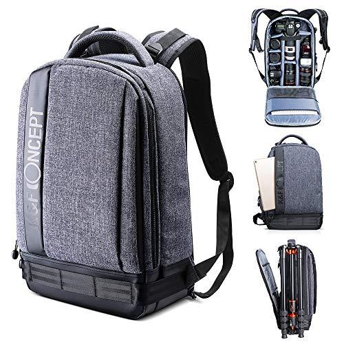 K&F Concept Professioneller Kamerarucksack, groß, kompatibel mit Kamera DSLR, 13,3 Zoll Laptop, Stativ, Grau