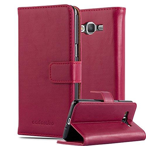 Cadorabo Custodia Libro per Samsung Galaxy Grand Prime in Rosso Vinaccia - con Vani di Carte, Funzione Stand e Chiusura Magnetica - Portafoglio Cover Case Wallet Book Etui Protezione