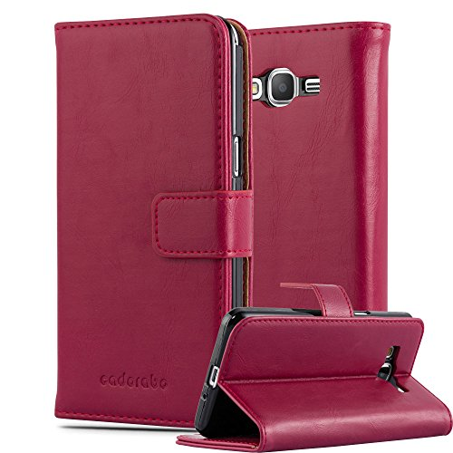 Cadorabo Hülle für Samsung Galaxy Grand Prime - Hülle in Wein ROT – Handyhülle im Luxury Design mit Kartenfach und Standfunktion - Case Cover Schutzhülle Etui Tasche Book