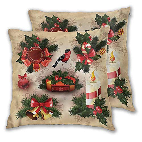 Xlcsomf Christmas Pillowcase Lightweight, 20 x 20 Inch Vintage Ornaments Easy to care Christmas decoration Set of 2