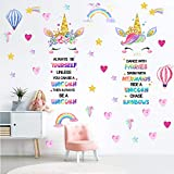 Outus 3 Sheets Unicorn Wall Decals Unicorn Rainbow Wall Sticker Decor for Girls Kids Bedroom Nursery Christmas Birthday Party Decoration, 24 x 14.4 Inch