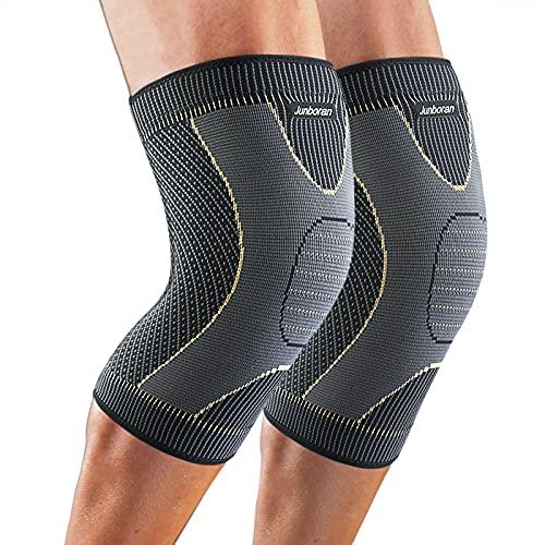 Junboran Kniebandage mit Kupferfibern [2er Set ] [M - XXL], Kniebandage Damen und Männer, Knieschoner, Knieschützer für Basketball Laufen Wandern, Arthritis, Knieschmerzlinderung (XL)