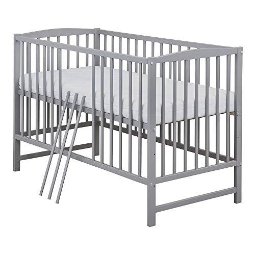 Baby Delux Babybett Kinderbett Gitterbett grau 120x60cm mit Matratze