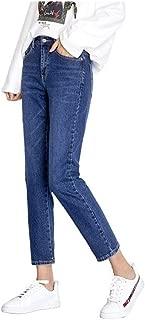KNlang 女性5XL 6XLプラスサイズのコットンルーズデニムパンツミッドウエスト全身の正規ボーイフレンドジーンズ (色 : ダークブルー, サイズ : L)