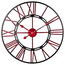 BEW Large Wall Clock, 24 Inch Industrial Cut Out Metal Wall Clock with Roman Numerals, Silent Open Face Analog Indoor Wall Clock for Living Room, Home, Farmhouse, Dining Room (Red Skeleton)