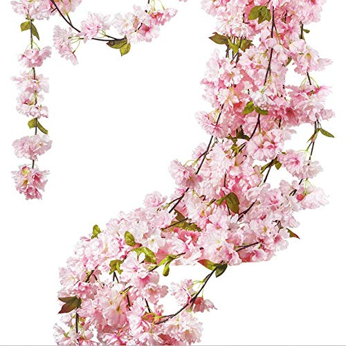 JLJL 5 Pcs Artificial Cherry Blossom Garland Hanging Vine Fake Flowers Silk Garland 180cm in Length for Home Wedding Party Decoration