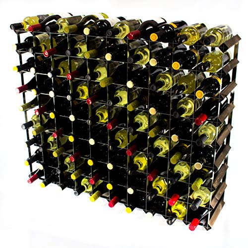 Classic 90 Bottle Dark Oak Stained Wood and galvanised Metal Wine Rack self Assembly