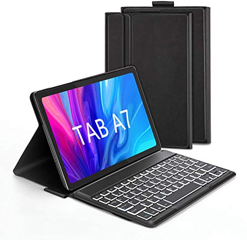 Jelly Comb Funda con Teclado España Ñ para Samsung Tab A7 10.4'' 2020, Teclado Bluetooth Desmontable Retroiluminación de 7 Colores, Estuche Protector para Samsung A7 10.4 (SM-T505/T500/T507), Negro