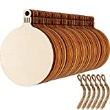 Blulu 60 Pieces Christmas Wooden Ornaments Round Wood Slices Wood Snowflake Angel Shape Slices with 60 Pieces Cords for New Year Christmas Tree Pendant Ornaments (Style 1)