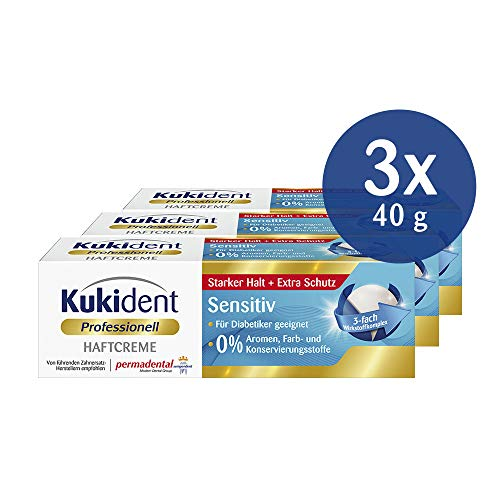Kukident Haftcreme Sensitiv für die Dritten, 3er Pack (3 x 40 g)