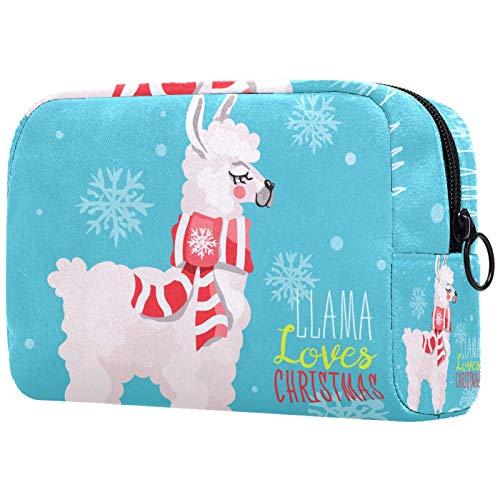 Make-up Taschen Tragbare Reise Kosmetiktasche Organizer Multifunktionskoffer Weißes Kamel mit traditionellen Weihnachten traditionellen roten Schal mit Reißverschluss-Kulturbeutel für Frauen