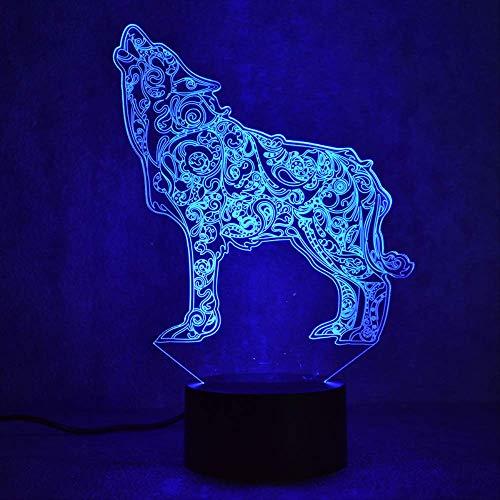 LWJZQT 3d nachtlampje Wolf LED 3D nachtlampje kinderen slaapkamer usb 3D licht baby kinderen Gif 7 kleurverandering bureaulamp LED nachtlampje