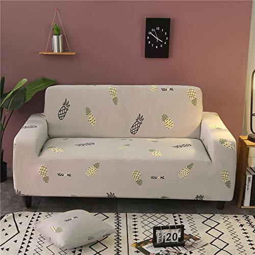 Funda de sofá Antideslizante de Poliéster Spandex Piña Gris Estampado,Funda elástica Antideslizante Protector Cubierta de Muebles para sofá de 3 plazas(1 Funda de Cojines)