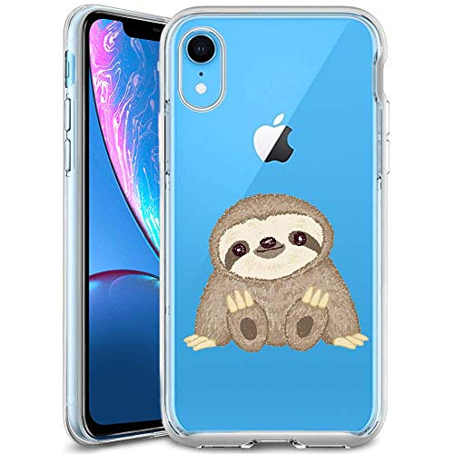 Phone Case for iPhone Xr,Clear Phone Case with Design Sloth TPU Soft Bumper Shock Absorption Slim Protective Cover