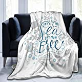Manta suave y esponjosa, con cita de Let The Sea Set You, con tortuga mariscos y rayas de rayas, súper suave, manta de forro polar, manta de dormitorio, cama de TV de 152 x 127 cm