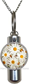 HandcraftDecorations Daisies URN.Flowers Cremation URN Necklace.Flowers Jewelry.Birthday Gift,Flower Charm Cremation URN Necklace,Floral Jewelry,Daisy Art URN.F081