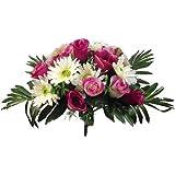 36cm Luxe artificielles en soie Rose Vin et crème Rose et Gerbera Bush avec 7,6cm Têtes de fleur
