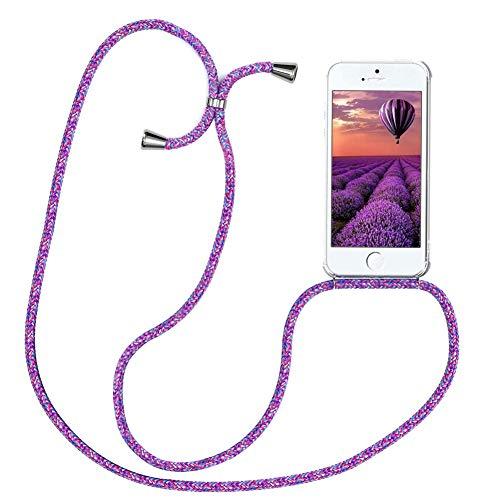 YuhooTech Handykette Kompatibel mit iPhone 5 / 5S / SE 2016, Smartphone Necklace Hülle mit Band - Handyhülle mit Kordel Umhängenband - Schnur mit Hülle zum umhängen in Blume Lila