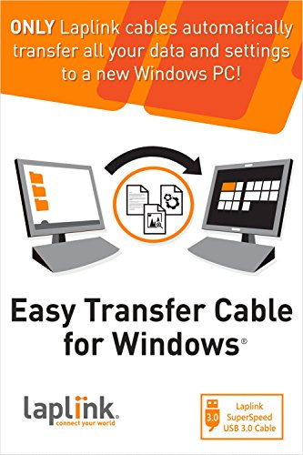Laplink Easy Transfer Cable | Includes PCmover Migration Software and USB 3.0 Cable | Single Use License | Migrates Files and Settings