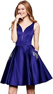 Zhongde Women's V Neck Open Back Short Homecoming Dress with Pockets Satin Prom Dress