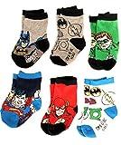 DC Comics Justice League 6 Pack Baby Infant Superhero Crew Socks (Size: 6-12 Mo. / Shoe Size: 3-4, Multicolor)
