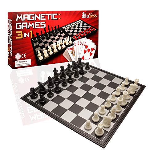 """3 in 1 Magnetic Travel Chess, Checkers, Cards Set 12.6"""" x 12.6"""" Board Games for Kids, Adults, Family"""