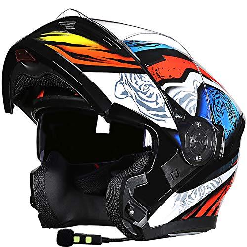 Bluetooth Casco Moto Modular Cascos Flip Up Motocicleta con Doble Visera Cascos de Motocicleta a Prueba de Viento ECE Homologado para Adultos Hombres Mujeres G,M