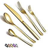 HOMQUEN Juego de cubiertos de oro (30 unidades, acero inoxidable, revestimiento de titanio), color dorado