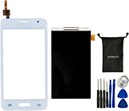 Sunways Glass Lens Screen with Touch Digitizer Replacement (White) + LCD Display Digitizer Screen Replacement for Samsung Galaxy Core 2 g355 G355h with Device Opening Tools