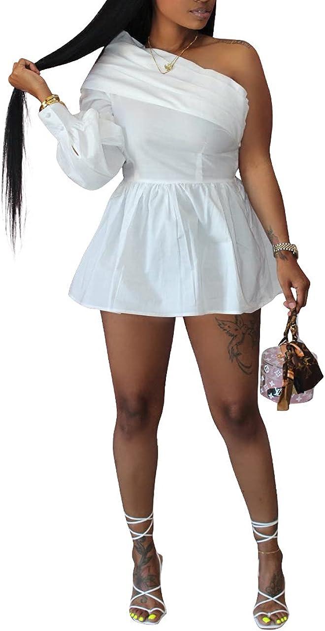 Ophestin Women's Summer Casual Dress Solid Color One Shoulder Long Sleeve Shirt Mini Dresses.