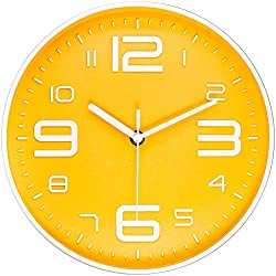 45Min 10 Inch 3D Number Dial Face Modern Wall Clock, Silent Non-Ticking Round Home Decor Wall Clock with Arabic Numerals, Colorful Dial Face (Yellow)