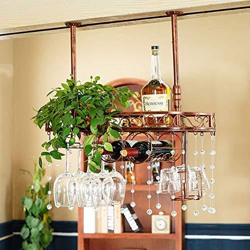 Wijnrekken wijnrek hangen Upside Down Wine Glasses Holder eenvoudige hangende wijnstand 2 wijnglazen Slots ijzeren proces decoratie rek met whisky Cup afdruiprek voor het hoofdrestaurant / Ba