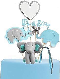 GmakCeder Elephant Baby Shower Cake Topper for Boy Blue Grey