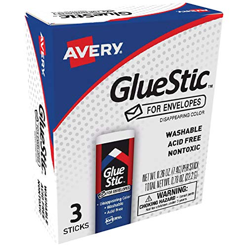Avery Glue Stick for Envelopes, Disappearing Purple Color, Nontoxic, 0.26 oz. Permanent Glue Stic, 3pk (00134)
