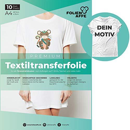 A4 Transferfolie für Tintenstrahldrucker & helle Textilien – Bügelfolie/Transferpapier, transparent – zum Übertragen von Fotos & eigenen Designs aufs T-Shirt – geeignet für Baumwollstoffe (10x)