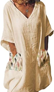 Suncolor8 Womens 1/2 Sleeve V Neck Summer Print Party Shirt Dress with Pockets