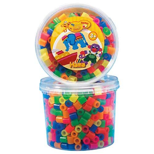 Hama Perlen 8572 Bügelperlen Dose mit ca. 600 bunten Maxi Bastelperlen mit Durchmesser 10 mm im Neon Mix, kreativer Bastelspaß für Groß und Klein
