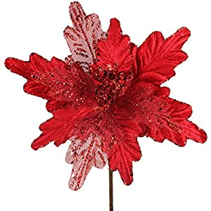 6 Pcs Christmas Red Glitter Metallic Sheer Mesh Sequins and Velvet Artificial Poinsettia Flowers Picks Xmas Tree Ornaments 8″ for Red Christmas Tree Wreath Garland Winter Wedding Holiday Decoration