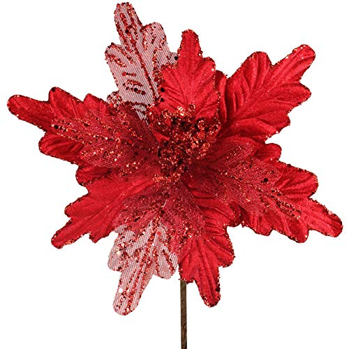 "6 Pcs Christmas Red Glitter Metallic Sheer Mesh Sequins and Velvet Artificial Poinsettia Flowers Picks Xmas Tree Ornaments 8"" for Red Christmas Tree Wreath Garland Winter Wedding Holiday Decoration"