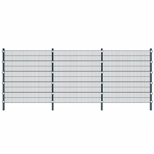 Tidyard 6 m Zaunfeld mit Pfosten 2 m hoch anthrazitgrau 6 m Fence Panel with Posts, Garden Fence, Metal Fence, 2 m high with 6 Clamps, Fitted Anthracite Grey.