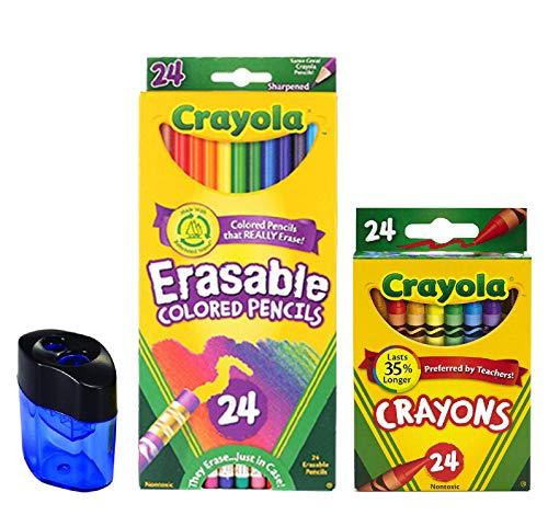 Crayola Erasable Colored Pencils, 24 Count, Pre-Sharpened, Fully Erasable| 24 Count Crayola Crayons | Crayon and Pencil Sharpener