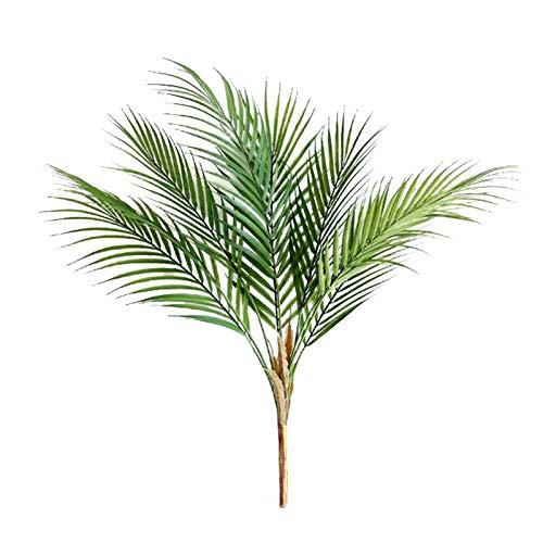 MOOVGTP Lot de 2 feuilles de palmier artificielles, 5 têtes, 59,9 cm, imitation verdure tropicale, arbustes pour décoration intérieure ou extérieure de mariage