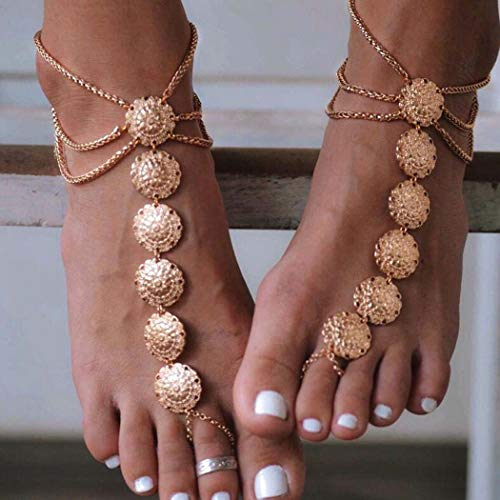 Asooll Vintage Layer Coins Beach Anklet Chain Gold Gypsy Barefoot Ethnic Jewelry For Women(1PC)