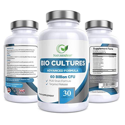 Natures Zest 60 Billion CFU Bio Cultures Probiotics with Prebiotics 30 Capsules Highest Strength Multi Strain Advanced Formula for Adults (Men/Women) Food Supplement