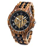 Men Wood Watch Quartz, Lightweight Vintage Men Wrist Watches with All Wood Strap (Zebra Wood and Ebony)