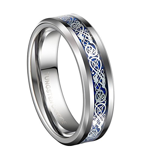 6mm Unique Silver Tungsten Celtic Wedding Bands for Women with Blue Carbon Fiber Engagement Couples Ring Comfort Fit Size 4.5